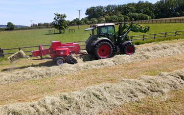 Peascliff contracting  with Small square baler at Barkston