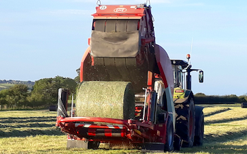 P.r, j.m & s.r houlston agricultural contractors with Round baler at Glaisdale