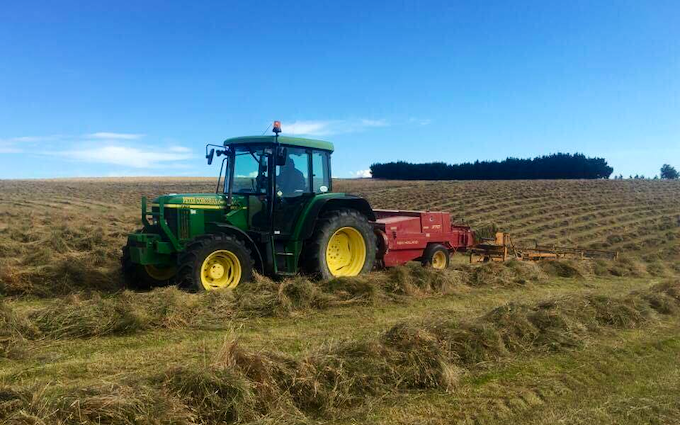 Peter corcoran contracting ltd  with Small square baler at Maitland