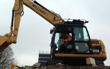Williams plant dorset ltd with Excavator at Hawthorn Avenue