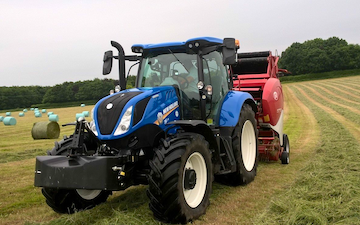E&dg stevens  with Round baler at United Kingdom