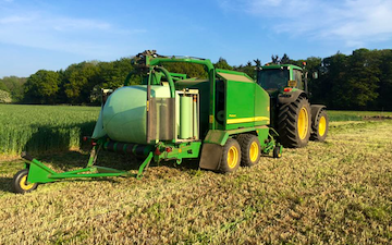 Td agri ltd with Baler wrapper combination at Bury Saint Edmunds