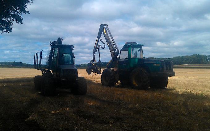 Allison's of liverton with Forestry harvester at Liverton
