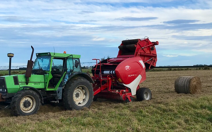Drummond contracting ltd with Round baler at Ashburton
