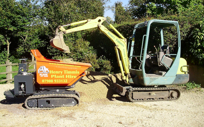 Henry timmis groundworks with Mini digger at Neate Road