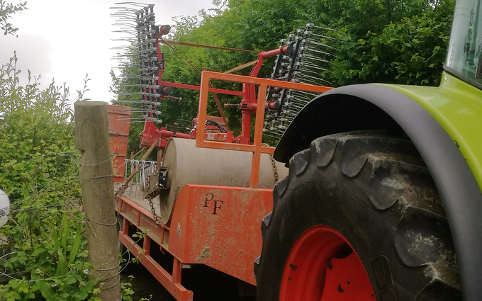 A.d.s agricultural contractors  with Low loader at Muddiford