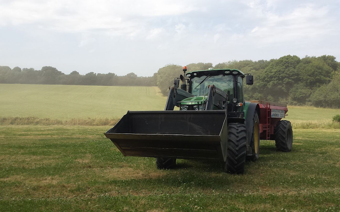 Charles moon contracting  with Lime spreader at Greatstone