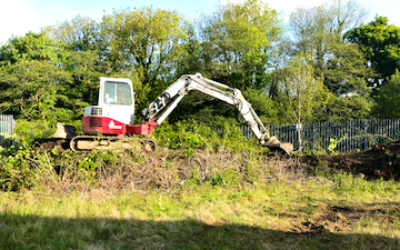 Scott walton contracting  with Excavator at Coychurch