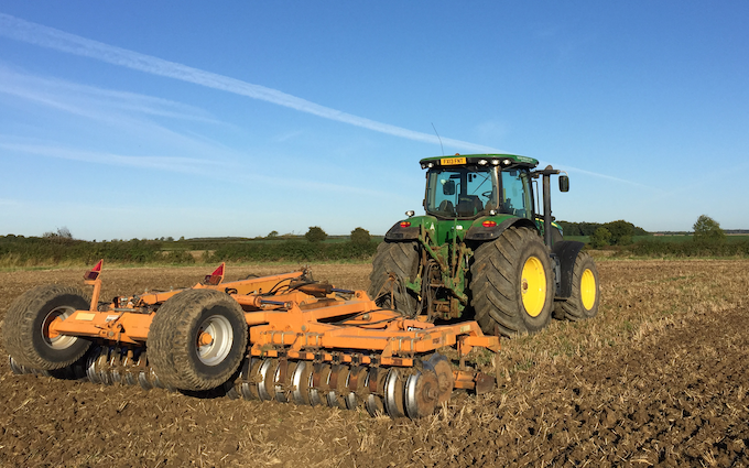 Haydn wesley & son ltd with Seedbed cultivator at Millthorpe Drove