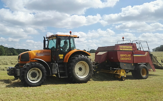 K h contracting  with Large square baler at Wallingford Road