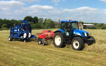 R d woodcraft with Small square baler at Gamlingay