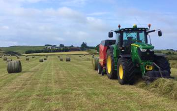 M & m bell contractors with Round baler at Memsie