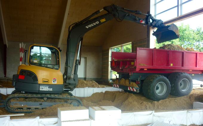Holmsland maskinstation med Gravemaskine ved Ringkøbing