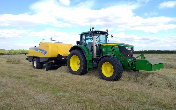 A & sj charlesworth farmers and contractors with Large square baler at Loxley