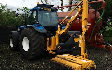 J pollock agri & haulage contractor with Hedge cutter at Derrykeighan