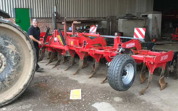 John richardson and son with Stubble cultivator at Gipsey Bridge