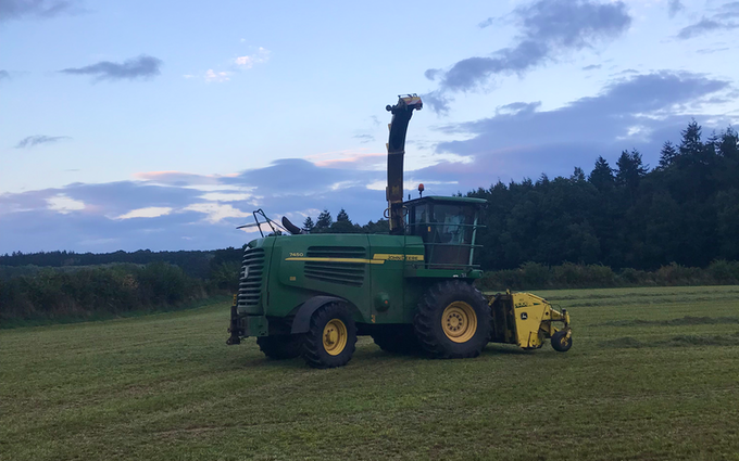Powells contracting  with Forage harvester at Hay-on-Wye