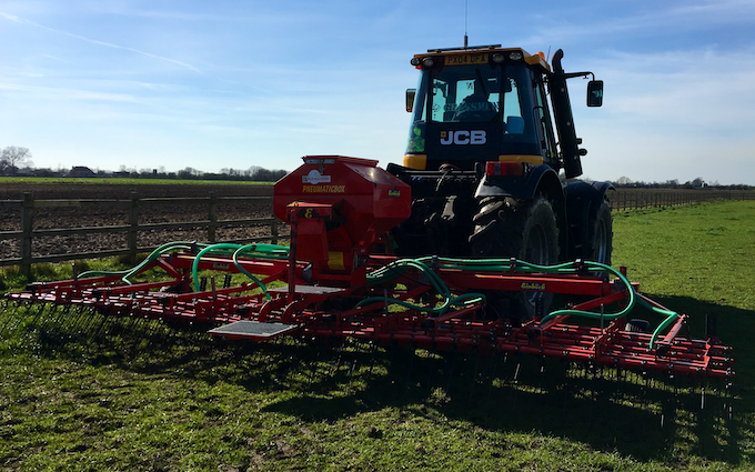Grassland farm services with Tine harrow at Greenland Lane