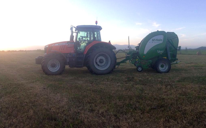 Bleeker ag services with Round baler at Otaio