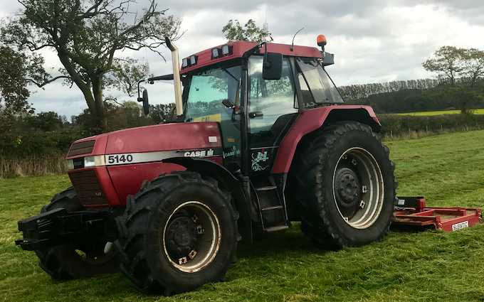 C.a.williams agri services with Verge/flail Mower at Twemlow Green