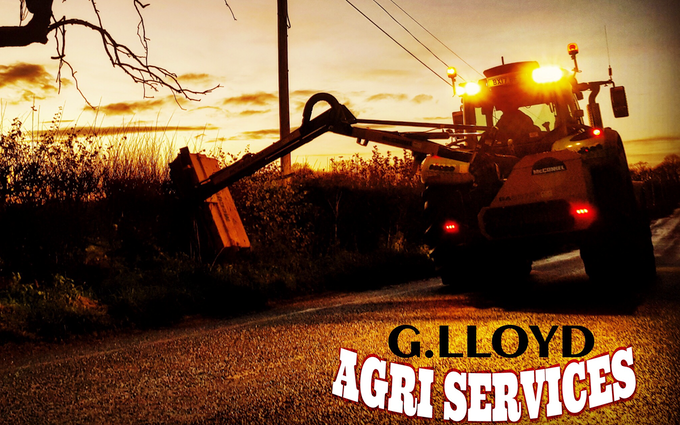 G. lloyd agri services  with Hedge cutter at United Kingdom