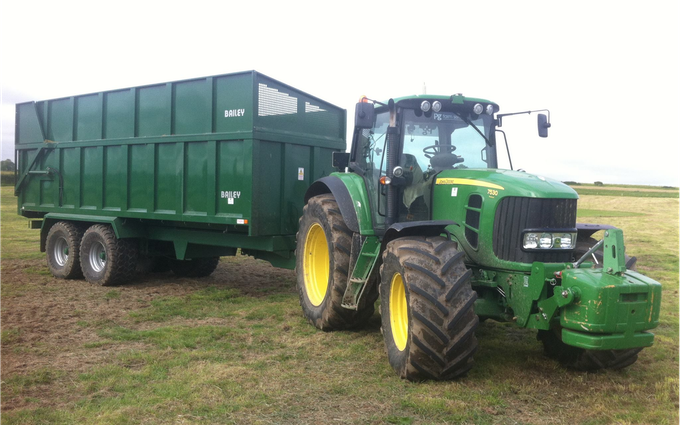 Pg groundcare ltd with Silage/grain trailer at Hollybank