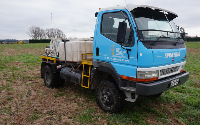Hide spraying ltd with Tractor-mounted sprayer at Fernside