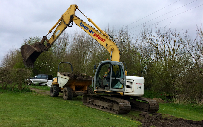 Mark thorne with Excavator at United Kingdom