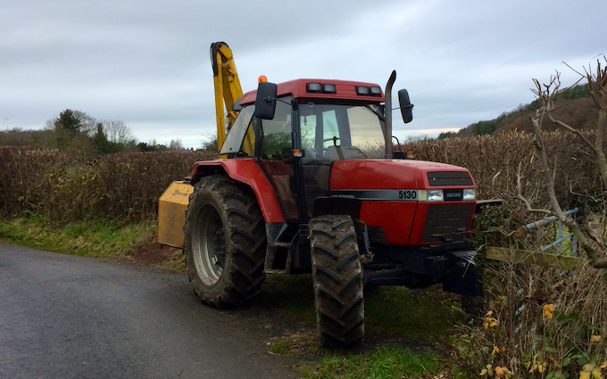 Adam jones contracting with Hedge cutter at Ruthin