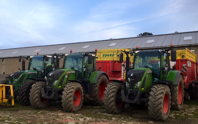 Bowen contractors with Forage harvester at Acton Scott