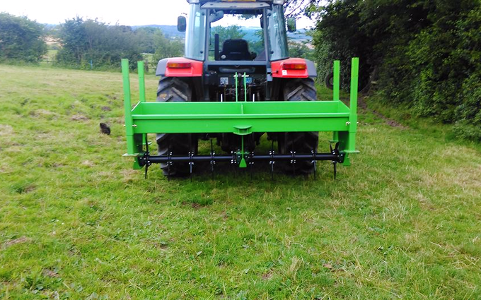 Ftgu-services with Meadow aerator at Chesterfield Road