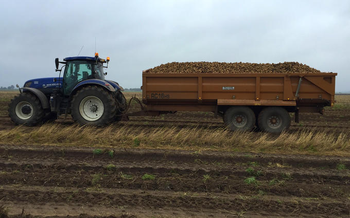 Harp contracting  with Silage/grain trailer at Mavis Enderby