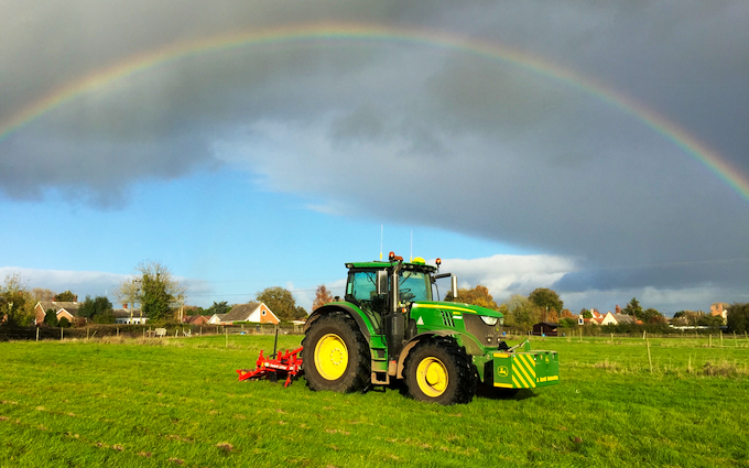 A. farrell contracting with Meadow aerator at United Kingdom
