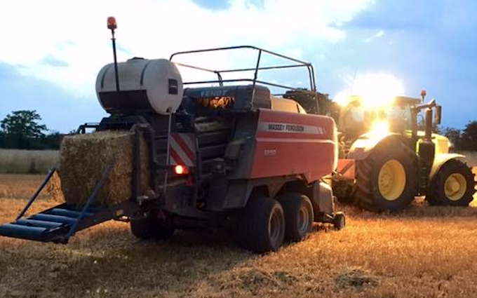 Cole agriculture  with Large square baler at Cranworth