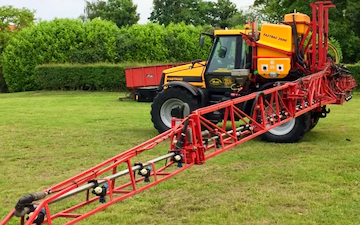 Chris lovett agri  with Tractor-mounted sprayer at Bulwark