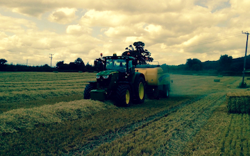A quested with Large square baler at Tillington Road