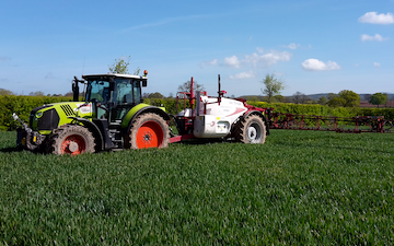 Landmarc agri services and sons with Trailed sprayer at United Kingdom