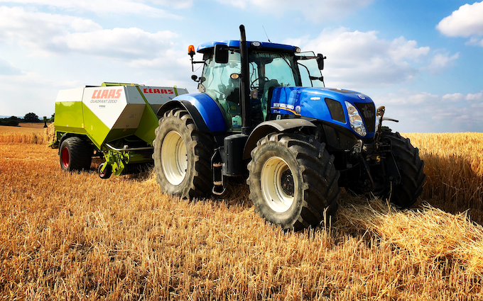 J w wellburn & son agricultural services with Large square baler at Havercroft