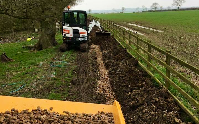 Vale contracting  with Ditch cleaner at Nether Broughton