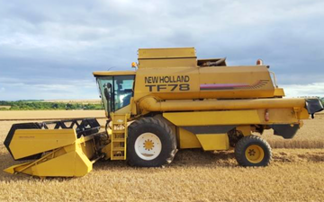 Alternative fertiliser solutions  with Combine harvester at Sutton Benger