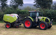 K m bray agri & plant contractor  with Round baler at Talgarth