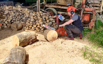 Christopher cant with Chain saw at Barrow