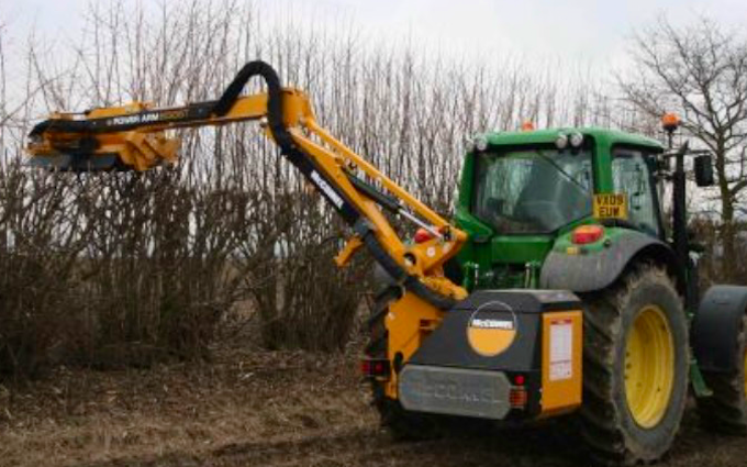 Agri serv with Hedge cutter at Scaftworth