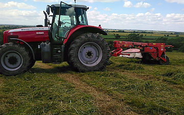 Vale agri  with Mower at Barkestone