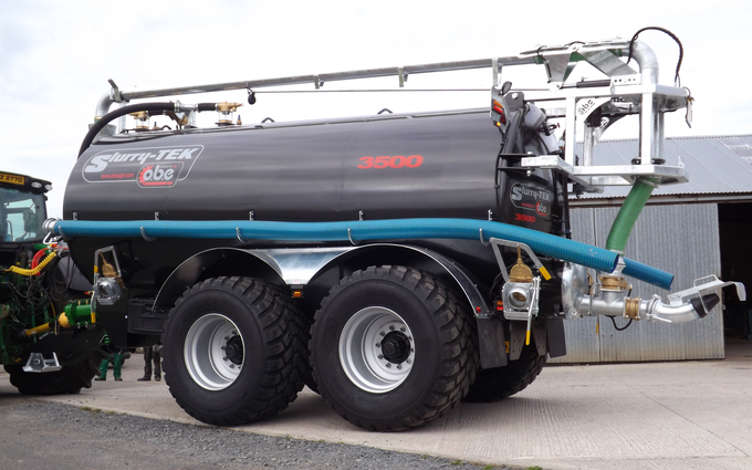 Obe agri  with Slurry spreader/injector at Donaghcloney