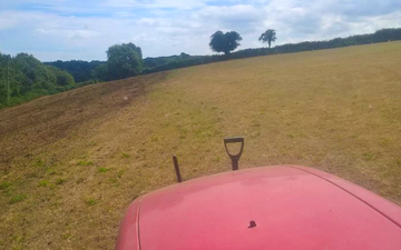 Trever verran agriculture contracting with Weeder harrow at Duloe