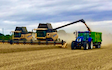 Galloway farms with Combine harvester at United Kingdom