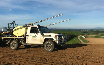 Plunkett agri spraying with Self-propelled sprayer at Taringatura