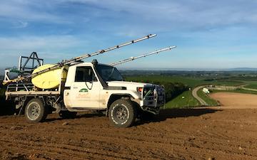 Plunkett agri spraying with Self-propelled sprayer at Taringatura