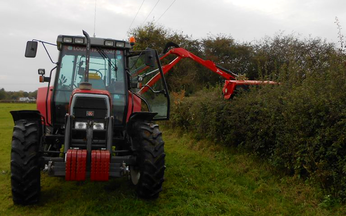 Specfarm solutions ltd with Hedge cutter at Crowle